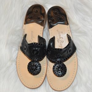 Jack Rogers Black Sandals Flip Flops Size 7 EUC